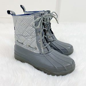 Sperry Gray/Silver Lace-up Polka Dot Duck Boots